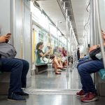 Riding the new metro in Beijing, China. August 11, 217.