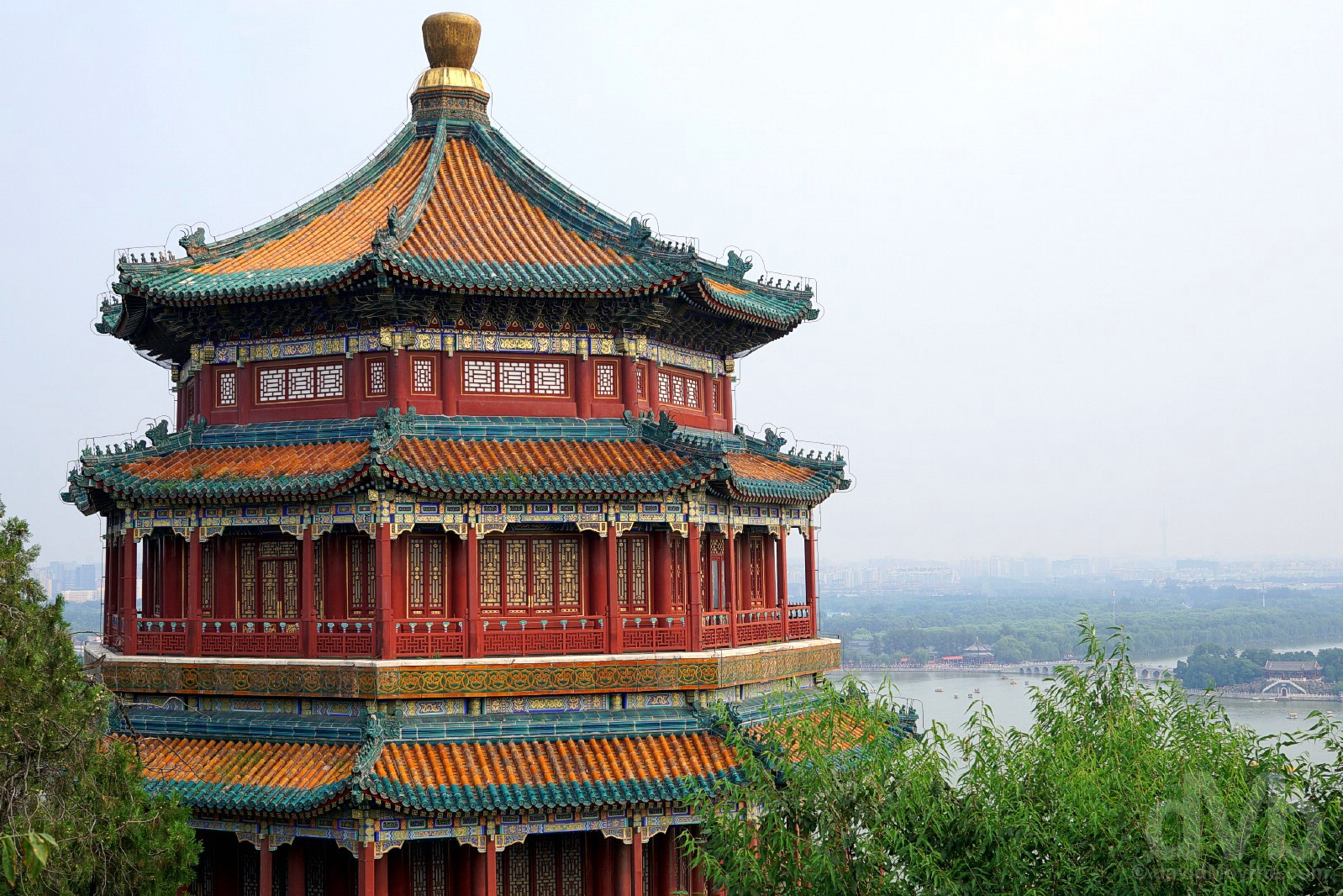 The Tower of Buddhist Incense on Longevity Hill in the grounds of the Summer Palace, Beijing, China. August 11, 2017.