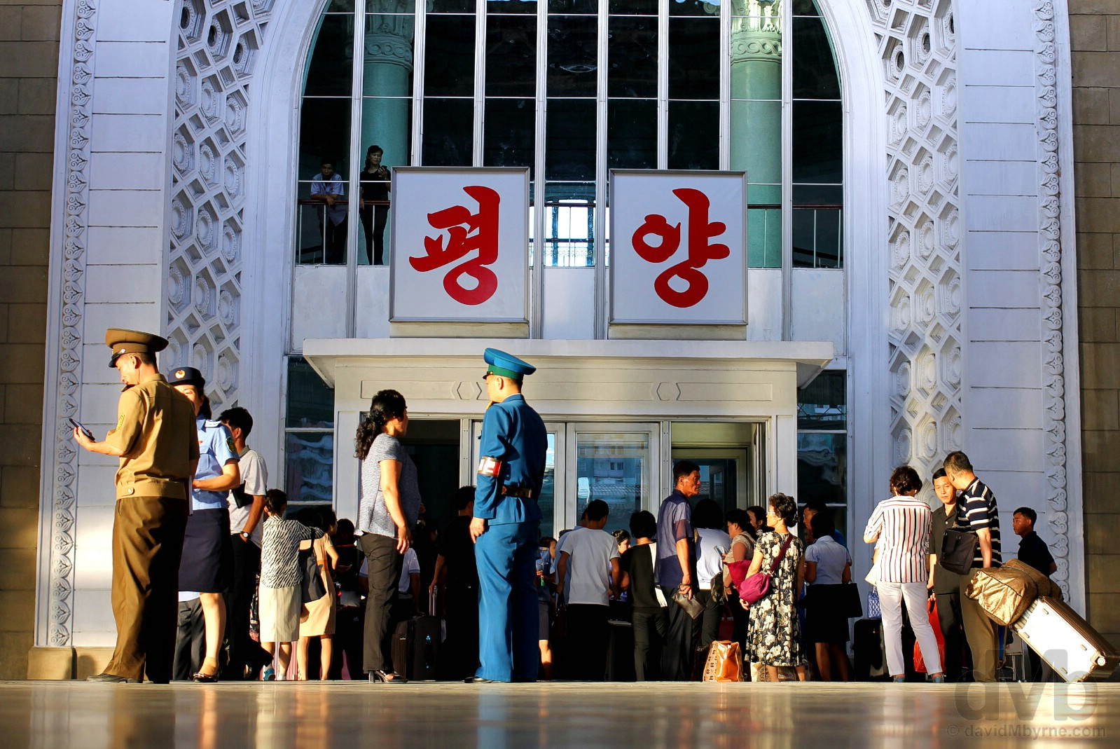 Late evening light on the platform of Pyongyang train station in Pyongyang, North Korea. August 14, 2017.