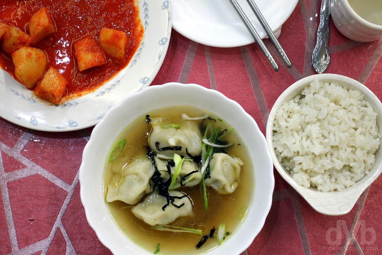 Lunch. Dumpling soup, Pyongyang, North Korea. August 15, 2017.