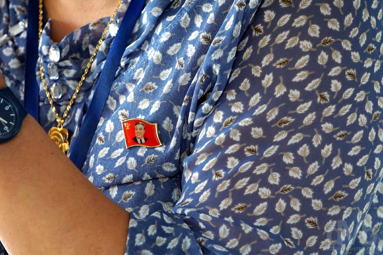 Kim Il-sung badge 'close to the heart'. Pyongyang, North Korea. August 15, 2017.