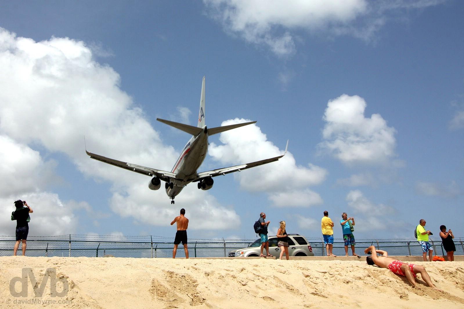 An approach to Juliana Airport over the sands of Maho Beach, Sint Maarten, Lesser Antilles. June 8, 2015.