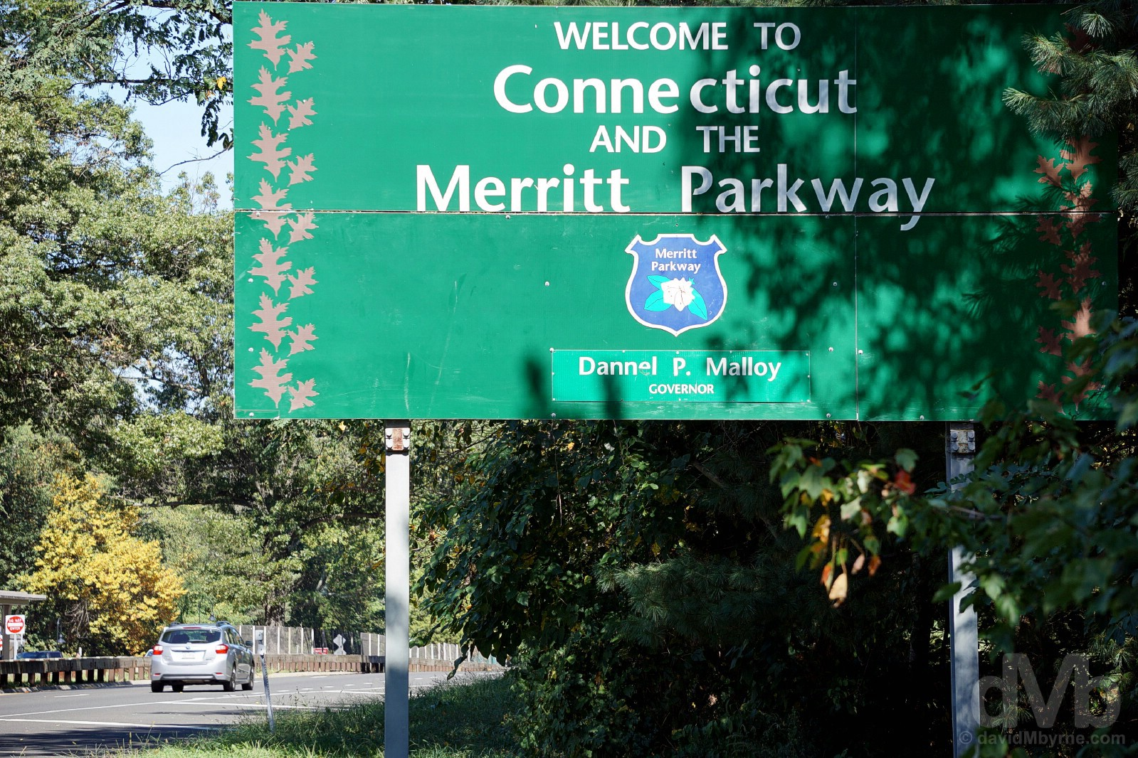 The entrance to the Merritt Parkway on the New York/Connecticut state line. September 28 2017.