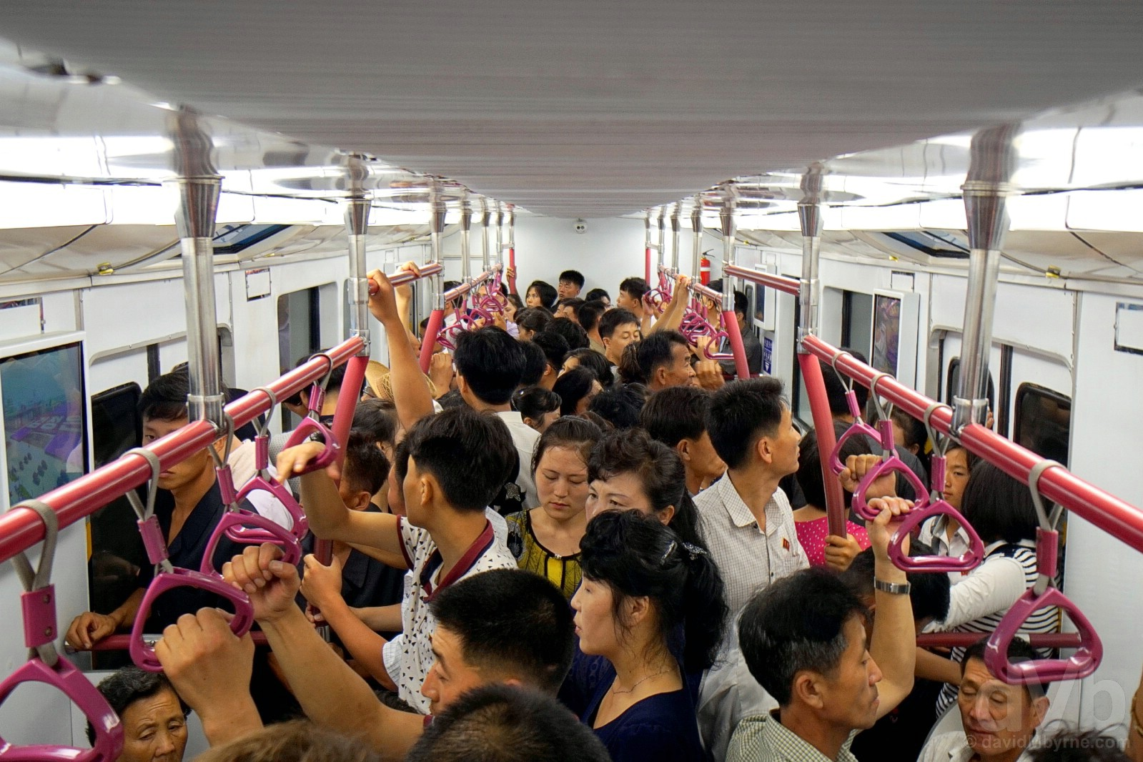 Riding the Pyongyang Metro, the world's deepest. Pyongyang, North Korea. August 15, 2017.