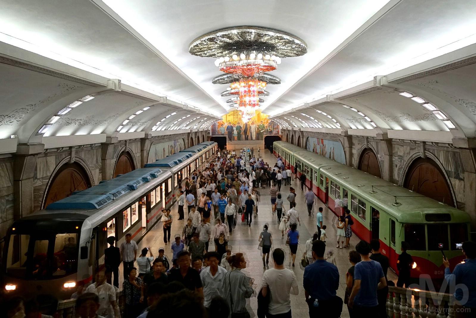 A platform of the Pyongyang Metro, the world's deepest. Pyongyang, North Korea. August 15, 2017.