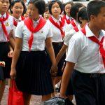 Schoolchildren on Sungri Street, Pyongyang, North Korea. August 15, 2017.