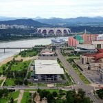 Northern Pyongyang and the Rungrado 1st of May Stadium, the world's largest, as seen from the top of the Juche Tower, Pyongyang, North Korea. August 15, 2017.