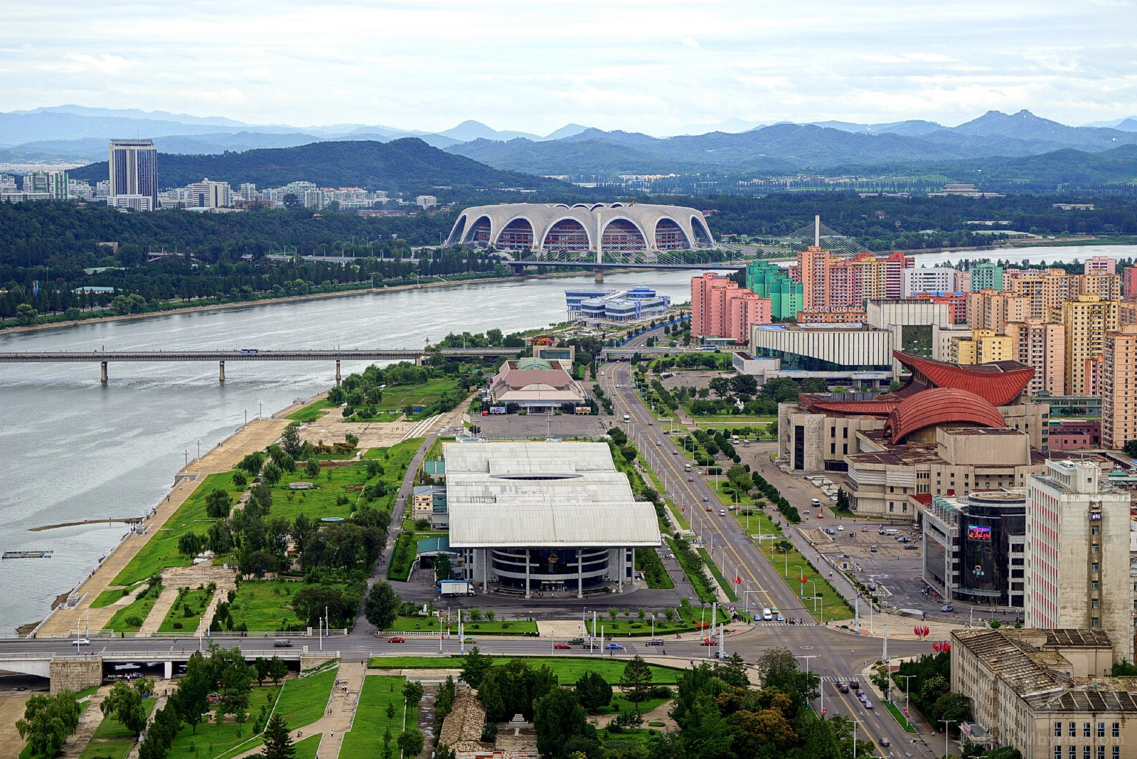 Northern Pyongyang and the Rungrado 1st of May Stadium, the world;s largest, as seen from the top of the Juche Tower, Pyongyang, North Korea. August 15, 2017.