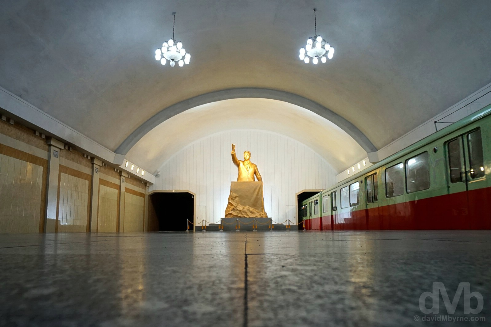 A gleaming Kim Il-sung statue on the platform of Kaeson Station of the Pyongyang Metro, Pyongyang, North Korea. August 15, 2017.