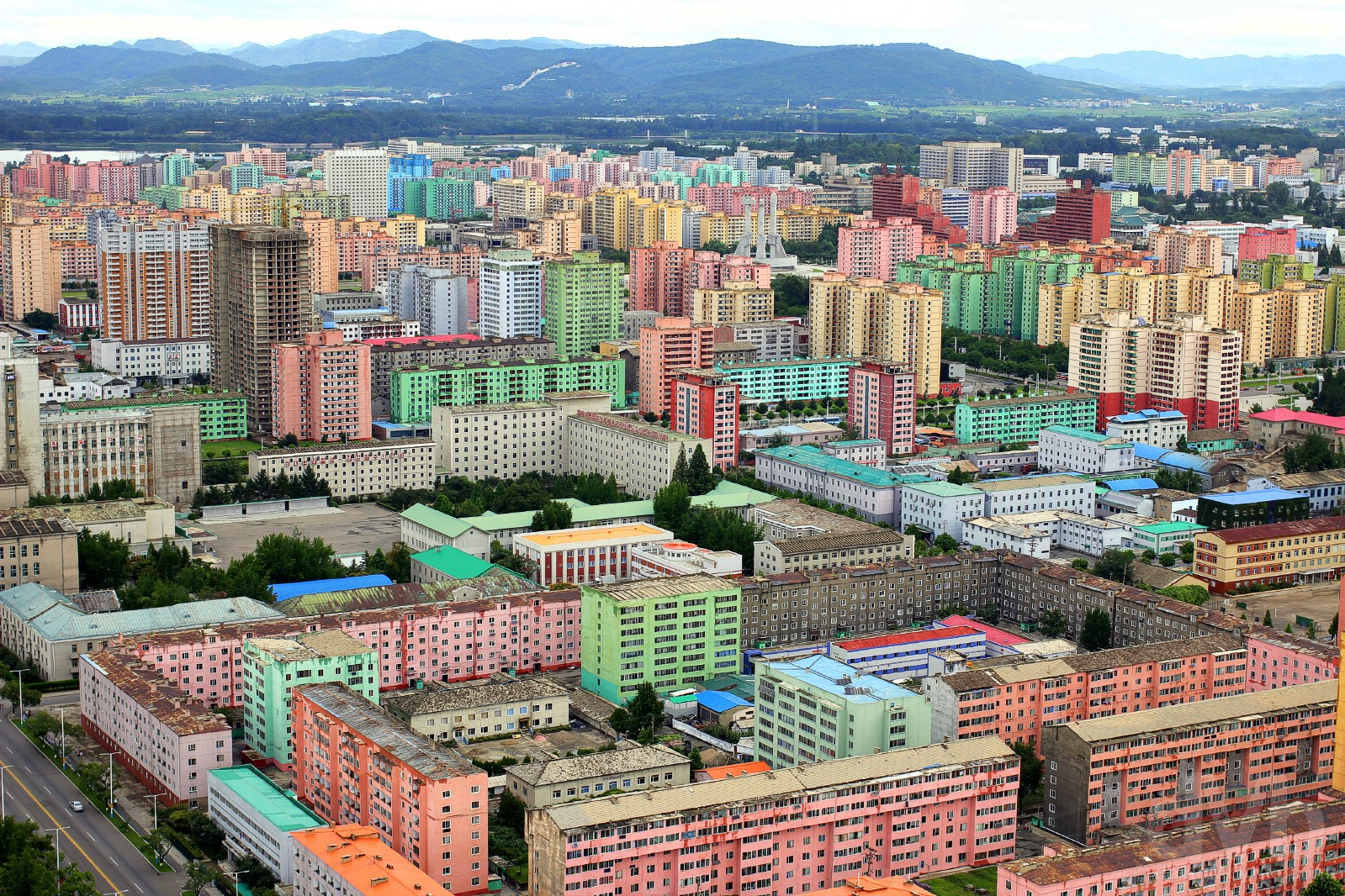 Colourful Pyongyang as seen from the top of the Juche Tower in Pyongyang, North Korea. August 15, 2017.