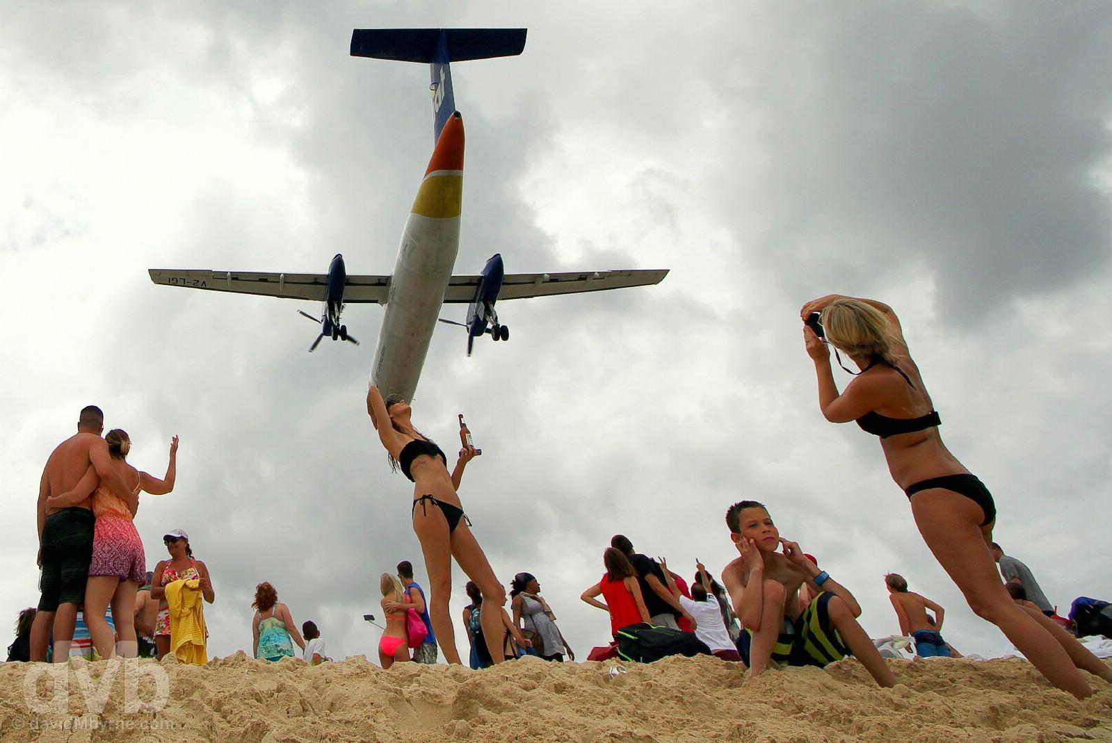 An approach to Juliana Airport over the sands of Maho Beach, Sint Maarten, Lesser Antilles. June 9, 2015.
