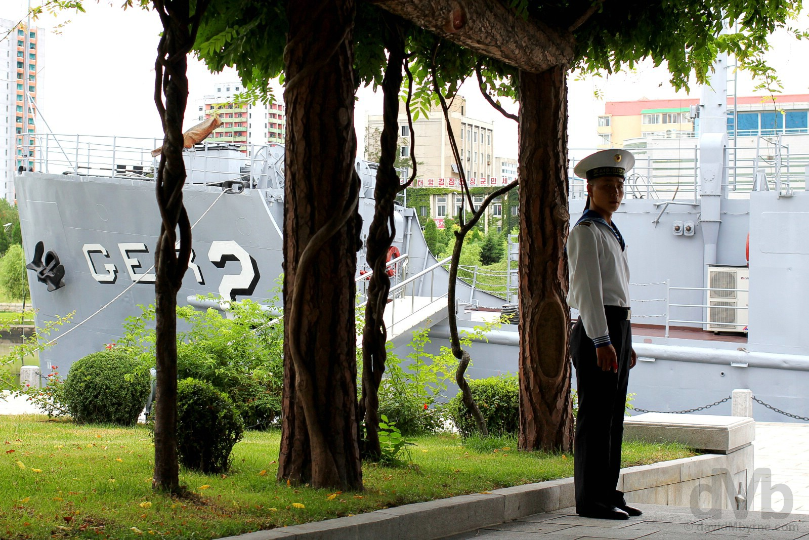 Guarding the USS Pueblo in the Victorious Fatherland Liberation War Museum, Pyongyang, North Korea. August 16, 2017.