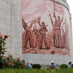 In the grounds of the Victorious Fatherland Liberation War Museum, Pyongyang, North Korea. August 16, 2017.