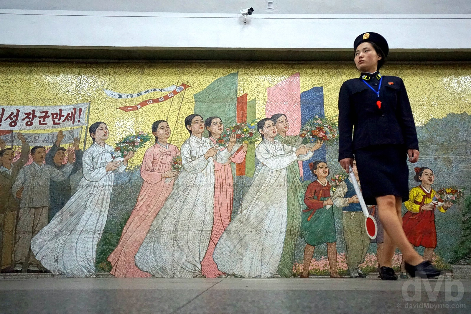In the Pyongyang Metro system, the world's deepest. Pyongyang, North Korea. August 15, 2017.