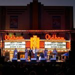 Flatt Lonesome performing in front of the Oldham Theater on Liberty Square as part of the one-day A Lester Flatt Celebration in Sparta, Tennessee. October 14, 2017.