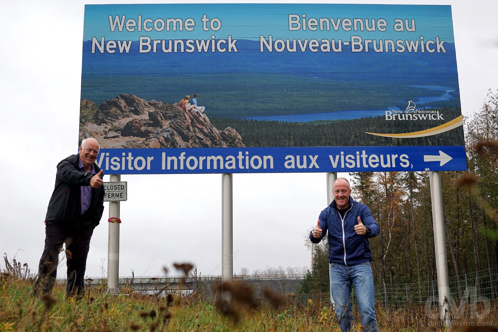 At the New Brunswick-Quebec provincial border on the Trans-Canada Highway north of Edmundston, New Brunswick, Canada. October 25, 2017.