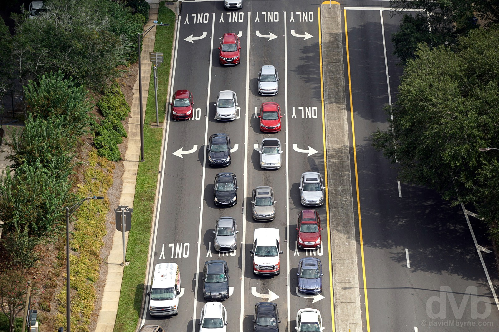 A road junction as seen from the 22nd-floor observation deck of the State Capitol in Tallahassee, Florida. October 11, 2017.