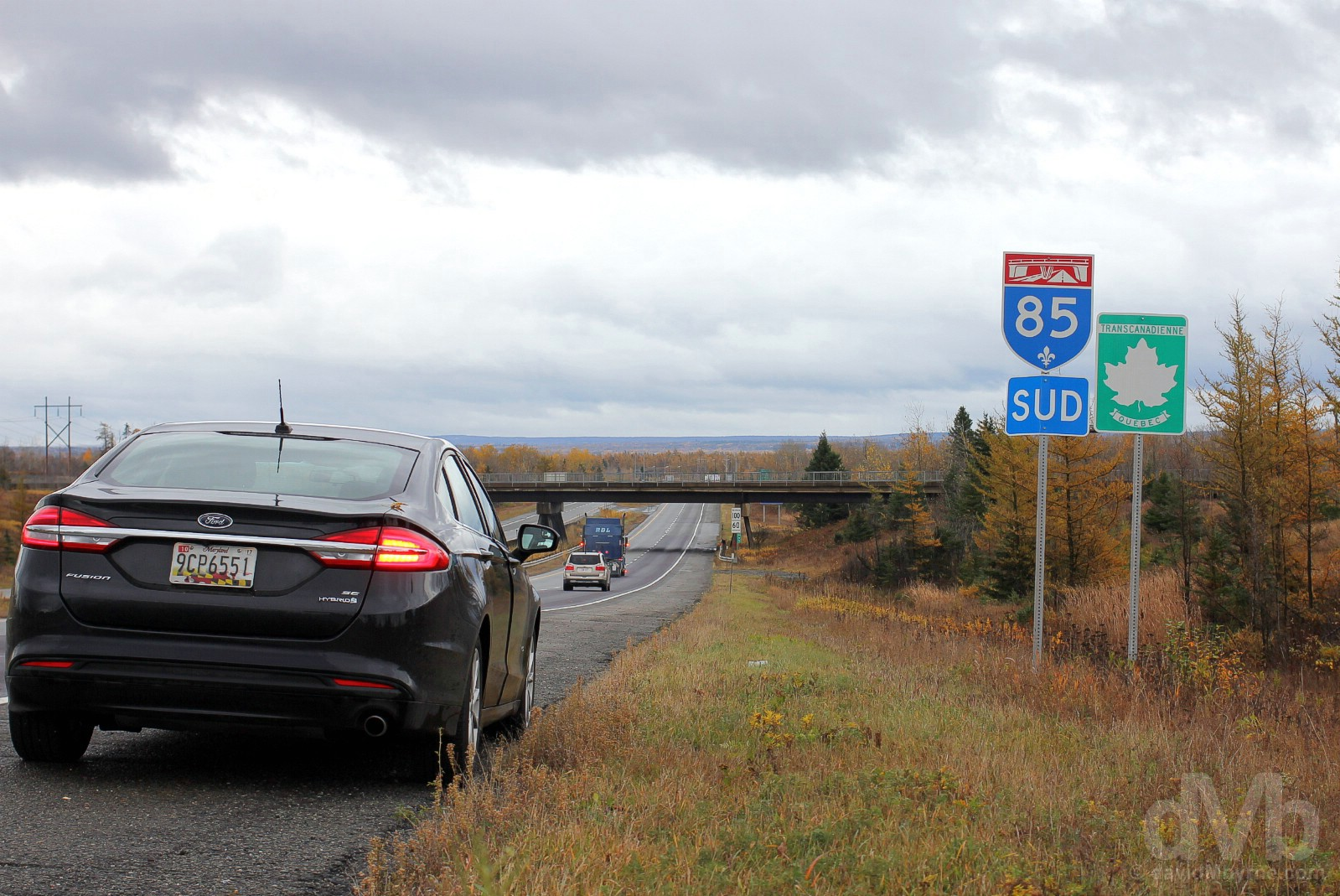 Heading south on Autoroute 85/the Trans-Canada Highway in Quebec, Canada. October 25, 2017.